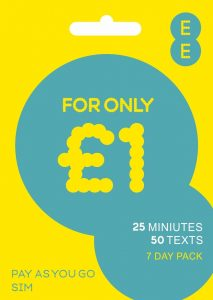 EE Pay as You Go SIM Card with £5 Credit