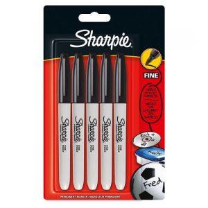 Sharpie Permanent Marker Black 5 Pack